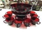 VINTAGE ANCHOR HOCKING RUBY RED GLASS PUNCH BOWL TRIVET 12 CUPS SET