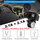 12V Red LED Motorcycle USB Charger 2.1A+2.1 With Digital Voltmeter + Thermometer