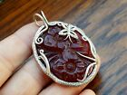Vtg Old Antique Sterling Silver Carved Cherry Amber Pendant Charm for Necklace