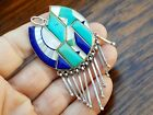 Sterling Silver Turquoise Lapis Mother of Pearl Inlay Pendant Charm for Necklace