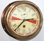 ANTIQUE LARGE NAUTICAL 8 DAY MARINE SHIP'S RADIO ROOM CLOCK W/ DISTRESS ZONES.