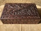 Vintage Ornate Hand Carved Walnut Wood Jewelry or Trinket Box ~ Kashmir, India