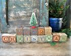 Antique Wood Blocks Spell MERRY CHRISTMAS w Antique Bottle Brush Tree