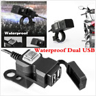 12V Waterproof Scooter Motorcycle Dual USB Phone Socket Charger 5V 3.1A W/Switch