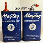 ½ Pint Tins MATAG Household Oil one w Lead Spout c1940s-50s