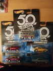 Hot Wheels 2018 50th Anniversary Favorites B Case Set of 5 with Real Riders