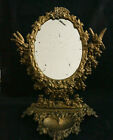 Antique Victorian Gilt Cast Iron Swivel Vanity Mirror w/ Pin Tray Birds Roses 11
