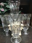 4 Vintage Clear Glass Footed Ice Cream Sundae Dishes, Soda Fountain Barware