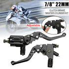 Pair 7/8'' 22mm Motorcycle Front Brake Clutch Lever Master Cylinder Reservoir US