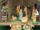 Vintage Sears Trim Shop Nativity Set Wooden Stable w 11 Figures 71 97169