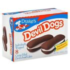 Drakes Devil Dogs Chocolate Vanilla Creme Filled Snack Cakes Box of 8 Food