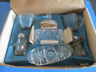 VTG Anchor Hocking Glass Clear Early American Prescut 7 PC.Table Service Set NOS
