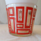 mid century mcm atomic red square gold starburst GLASBAKE ? ice bucket