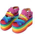 Womens Rainbow High Heel Creeper Platform Open Toe Shoes Sandals club vintage