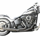 Low Cat Upswept Chrome Full Exhaust Louvered Wrap Baffle HD Breakout Models