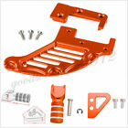 Orange CNC Motorcycles Rear Brake Disc Guard Protector Cover Pedal Step Tip Set