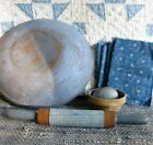 Antique Child's Toy Rolling Pin with 1890s Blue Calico Sleeve
