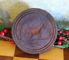 Primitive Round Carved Wood COW Butter Mold Stamp Press Grubby Black Paint
