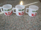 Jerry D handle milk glass mugs w Auld Lang Syne