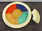 VINTAGE FIESTAWARE RELISH TRAY WITH 5+ INSERTS