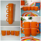 VTG 1960s MID Century Retro Orange Milk Glass Anchor Hocking Coffee Cup Mugs 4