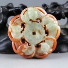 2'' Chinese old green jade hand-carved five bat gift collect pendant 0994