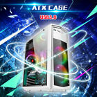 ATX Tempered Glass Computer Gaming PC Case USB 30 For M ATX Mini ITX 4 LED Fans