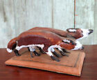Carved Folk Art Foxes Pair Artist Signed Wood Wooden Figure