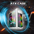 Mid ATX Tempered Glass Computer Gaming PC Case USB 30 Mini ITX 4 LED Fans