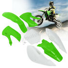 For KAWASAKI KLX 110 KX65 DRZ110 Plastic Fender Fairing Body Kit 4 Green 3 White