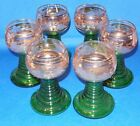 Set 6 Wine Glass Goblets Roemer Etched Grapes Green And Gilded Stemware