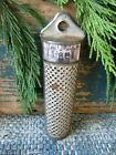 Early Antique Dark Tin Nutmeg Grater with Old Photo Print