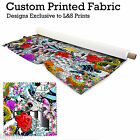 COLOURFUL TATTOO DESIGN PER METRE FABRIC LYCRA SATIN JERSEY CHIFFON FROM