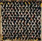 GRAPHIC, COLORFUL 1890's Vintage Pyramids Crazy Quilt Top ~GREAT DESIGN!