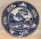 White Transferware Plate with Deer and Thatched Roof Cottages by Rogers