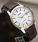 Casio MTP-V004GL-7A Mens Analog Watch Brown Leather Band Gold Date Stamp New