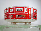 VTG 60s MID Century Modern Atomic Starburst Red Geometric Glass Salad Serve Bowl