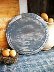 Antique Carved Wood Bread Board Gray Milk Paint