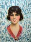Antique Orig Litho Victorian Girl Portrait Faux Bois Background Box Mirror Art