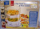 The Biggest Loser Food Steamer  Rice Cooker Three Tier Black New in Box