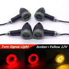 4 Pcs Universal Motorcycles Scooters LED Amber Turn Signal Light Red Brake Lamps