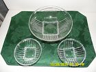 Park Avenue Glass Vegetable Serving Bowl and 2 Individual Federal Glass Company