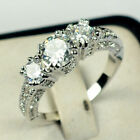 Wedding Gifts Oval Cut White Topaz Gemstone Silver Ring Gift Size5 6 7 8 9 10 11