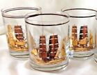3 Vtg Culver Columbian Clipper Ship Gold Overlay Old Fashion Rocks Glass W/Logo