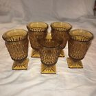 Set Of 5 Amber Color Indiana Glass Iced-Tea Goblets. Mt. Vernon Pattern.