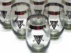 8 Vintage Libbey MEDIEVAL KNIGHTS VICTORY Smoke Gray High Ball Glasses MIRRORED
