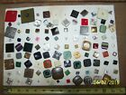 Collection of 100 Antique/Vintage Square Metal, Shell, Bakelite, Glass  Buttons