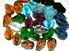 100 1k DROP CUBE ROUNDEL GLASS BEADS lot black blue green amber crystal purple