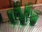 Vintage Anchor Hocking Forest Green Roly Poly Glasses 5 Glasses 3-8 oz 2-12 oz