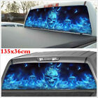 135x36cm Car Truck SUV Flaming Skull Rear Window Tint Graphic Sticker Decal Blue
